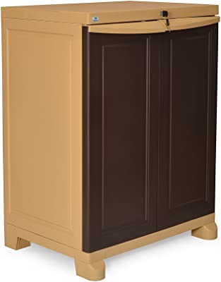 Nilkamal Freedom Small 1 (FS1) Plastic Storage Cabinet (Weathered Brown & Biscuit)