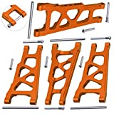 Hobbypark Front & Rear Aluminum Suspension Arms Set for Traxxas 1/10 Slash 4x4 4WD, Stampede 4x4, XO-1 Upgrade Parts Option Hop Ups ,Orange-Anodized (4-Pack)