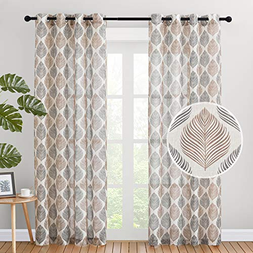 NICETOWN Faux Textured Window Sheer Curtains, Grommet Privacy Modern Semitransparent Light Filter Leaves Design Drapes for Bedroom (Taupe & Black, W50 by L84 Inches, 1 Pair)