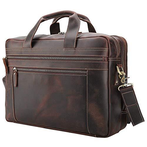 Tiding Men's Leather Briefcases Messenger Bag 15.6' Vintage Laptop Bag Attache Case Shoulder Bag for Business Travel - Dark Brown