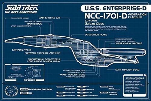Star Trek Next Generation USS Enterprise Blueprint Poster (60,96 x 91,44 cm)