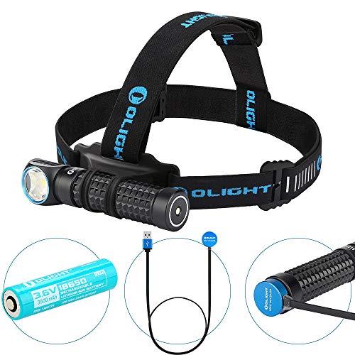 OLIGHT Perun Kit Linterna Frontal USB Recargable,LED Linterna de Cabeza da 2000 Lúmenes y 120 m Máxima,5 Niveles de Luz, Zoomable Faro Delantero Potente,Ideal para correr,acampar,niños y más