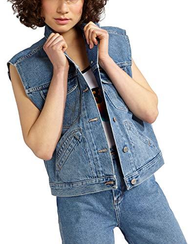 Wrangler Women's Retro Vest Kabel Denim Jacket In Blue in size M