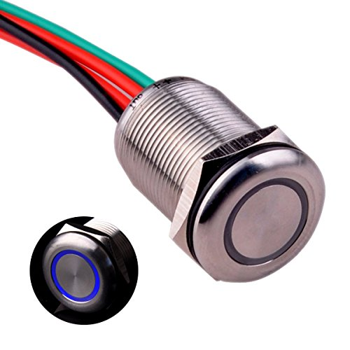 Ulincos Touch Switch UT19T1 Stepless Dimming Switch DC 6V to 24V Blue LED Suitable for 19mm 3/4 Mounting Hole