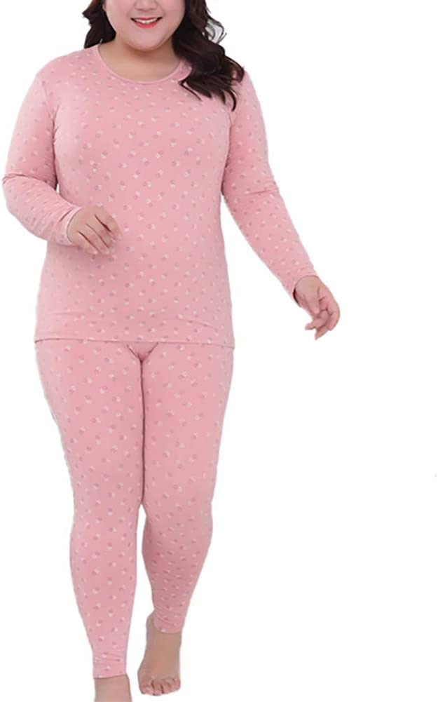 BIXUYAO Thermal Underwear for Women/Single Layer Round Neck Lined Top Leggings Set Base Layer Long Suitable for Indoor,Pink,XL