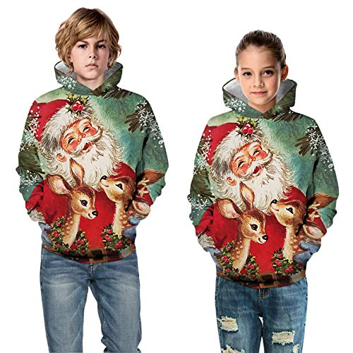 Ugly Christmas Jumper Hoodies Xmas Hoodie Swetshirt For Children Kids Boys Girls Funny 3D Print Christmas Dog Santa Reindeer Graphic Hooded Sweatshirts Kids Casual Christmas Pullover Xmas Sweater
