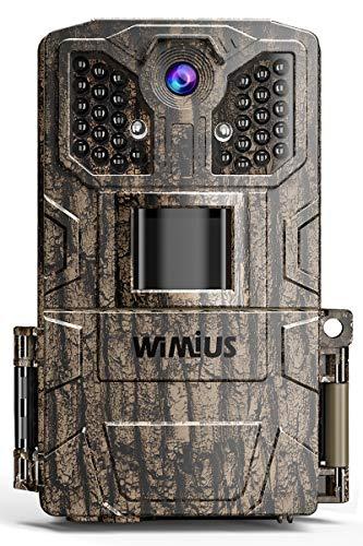 WiMiUS Wildkamera 24MP 1080P Infrarot-Nachtsicht Wildtierkamera mit 940nm IR LEDs, Zeitraffer, Zeitschaltuhr, IP66 Wasserdicht Jagdkamera, für Tierbeobachtung und Heimüberwachung