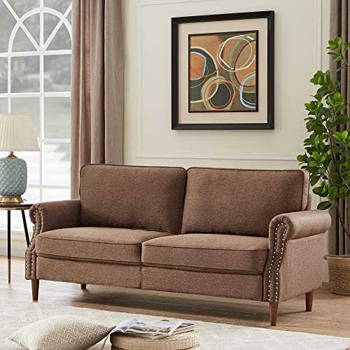 3P Seater Sofa Couch, Rockjame Sofa with Solid Wood and Durable Modern Linen Fabric for Small Spaces &Cushions and Armrests, Living Room Furniture (Brown)