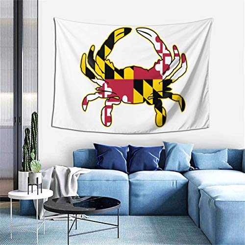 BBQJ Maryland Flag Crab Art Tapestry Wall Hanging Art Decorations for Living Room Bedroom Dorm Home Decor Blanket 6040 inch