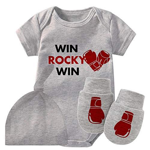Culbutomind Baby Twins Body Guantoni da boxe Win Rocky Baby Outfit Divertente Pagliaccetto Baby Girl Set Grigio 9 mesi