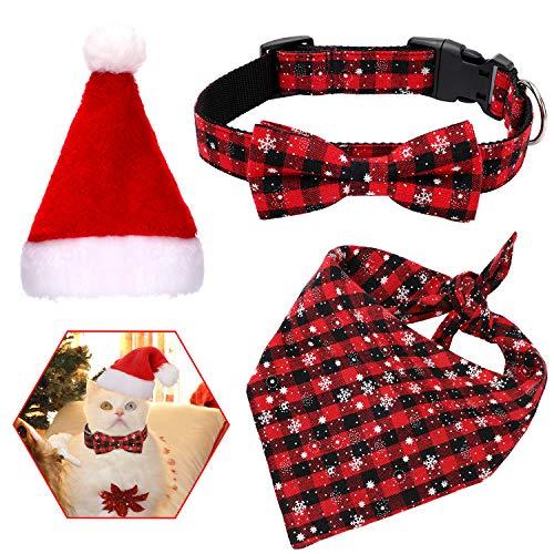 3 Stück Weihnachten Haustier Set Plaid Schneeflocke Bandana Rot Plaid Bogen Kragen Weihnachtsmütze für Hunde Katzen Haustiere Weihnachten Dekorationen (L)