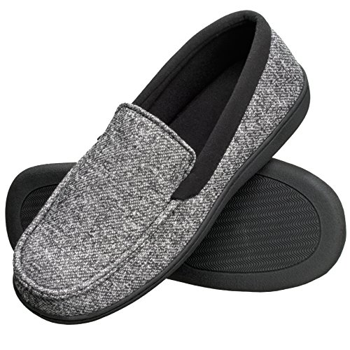Hanes Men's Slippers House Shoes Moccasin Comfort Memory Foam Indoor Outdoor Fresh IQ (XX Large (12.5-13.5), Black)