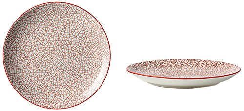 Fill 21335 Set aus 4 Steingut-Tellern, Kollektion Althea, Design Crackle Bordo Rosso (Rot)