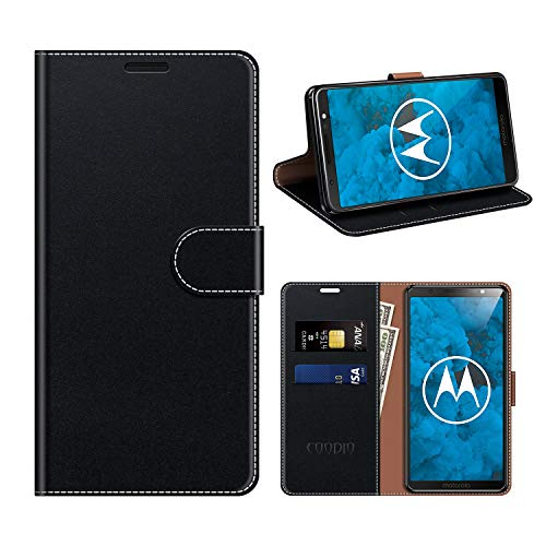 COODIO Motorola Moto G6 Hülle Leder, Moto G6 Kapphülle Tasche Leder Flip Cover Schutzhülle Rugged für Motorola Moto G6 Handyhülle, Schwarz