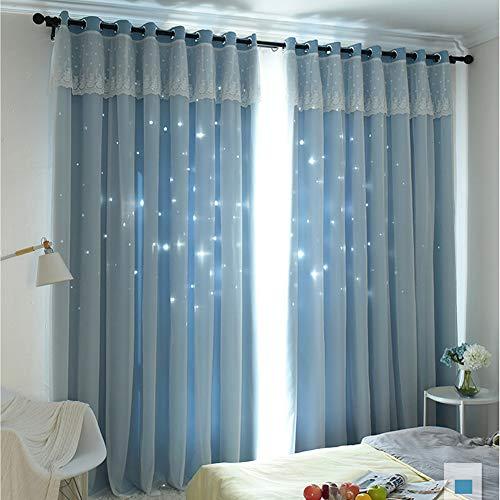 Michorinee Cortinas para habitación infantil, diseño de estrellas, princesa, opacas, con ojales, color azul, para habitación de niñas, 240 x 132 cm (alto x ancho)