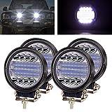 4X 72W Foco Led Tractor,4.5' Faros Trabajo LED 12V 24V Focos de Coche LED Potentes Faros Adicionales Coche Luz de Niebla luz Auxiliar Moto IP67 para Moto Offroad ATV SUV Tractor Camión Barco