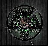 GodyGT Heavy Metal Music Vinilo Reloj de Pared Rollo Estudio de música Calavera decoración de Arte de Pared Reloj de Pared Hecho a Mano Regalo Dale 12 Pulgadas