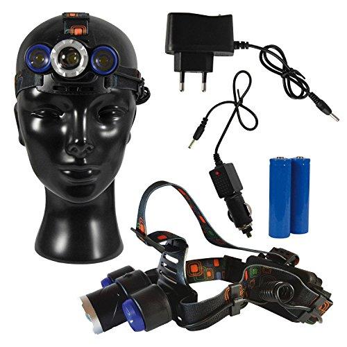 CREE Lampe frontale LED Lampe frontale avec 2 x 18650 Batteries, chargeurs USB pour la maison & voiture