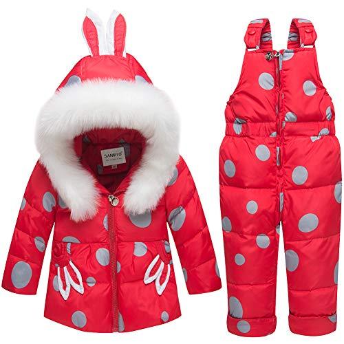 SANMIO SANMIO Baby Mädchen Daunenjacke Schneeanzug mit Kaputze Bekleidungsset Verdickte Winterjacke + Winterhose Kleinkind Daunenhose Kinderskianzug