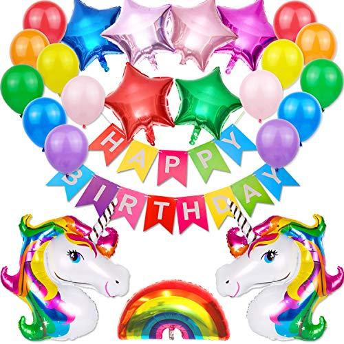 Unicornio Decoraciones Cumpleaños de Fiesta para Niños, Niña Unicornio Decoracion Fiesta Adornos Cumpleaños ,Enormes 3D Globos de Unicornio Cumpleaños para Niños Niñas cumpleaños