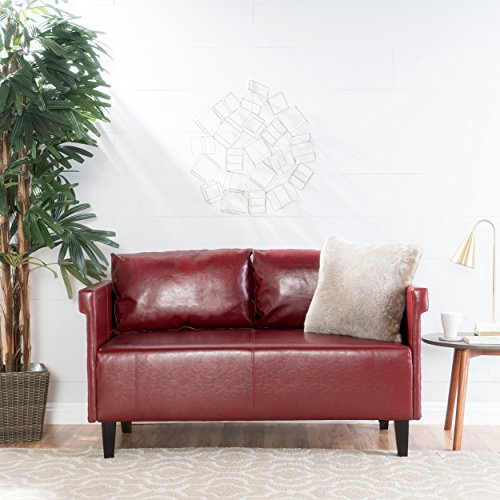 Christopher Knight Home Bellerose Leather Settee, Red