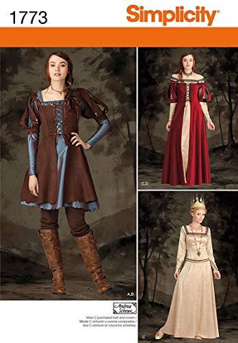 Simplicity Pattern 1773.R5 - Patrones e Instrucciones para Disfraz de Mujer (Tallas 42 a 50)