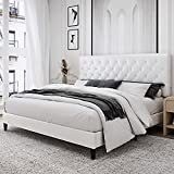 Kealive Faux Leather Upholstered Platform Bed Frame with Adjustable Diamond Button Tufted Headboard, Wooden Slats Support, Mattress Foundation, No Box Spring Needed, Easy Assembly, King Size, White