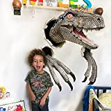 DIZHIGE Wall Bursting Blue Velociraptor Prop Replica, 3D Cracked Large Dinosaur Ornament Personalized, Dinosaur Head and Claws Wall Hanging Statue, Wall Mount Dinosaur Head Sculpture
