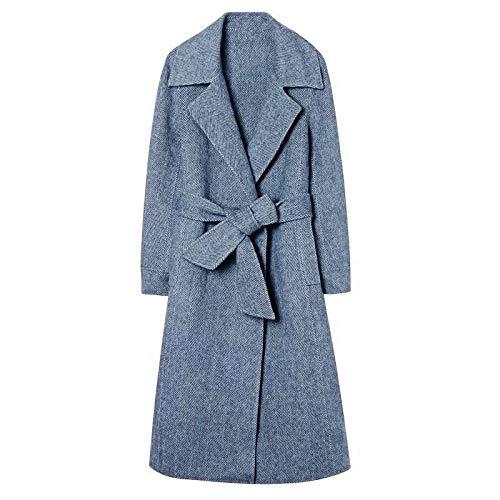 Frauen Wollmantel Langen Mantel, Grau-blau Revers Winter Elegante Trenchcoat Mit Gürtel