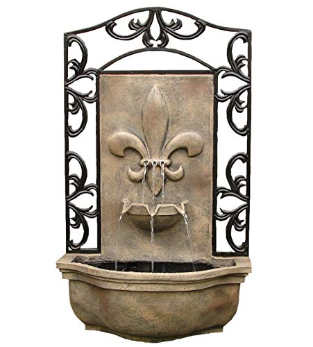 The Bordeaux - Outdoor Wall Fountain - Florentine Stone - Water Feature for Garden, Patio and Landscape Enhancement