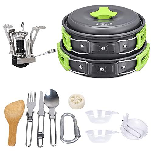 G4Free Juego de 11 piezas y 13 piezas de utensilios de cocina para camping, senderismo, picnic, cuenco de cocina antiadherente (13 unidades), color verde