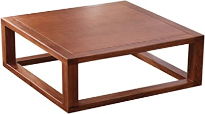 Simple Tatami Table Square Coffee Table Balcony Tea Table Breakfast Table Elm Wood Material (Color : Brown, Size : 80x50x30cm)