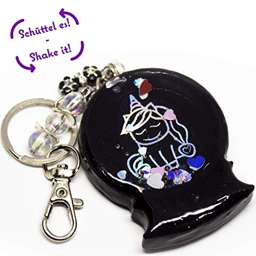 Shaker - Schlüsselanhänger | Schneekugel - Einhhorn schwarz Holoeffekt | handmade | perfektes Geschenk | mit Schneekugeleffekt | Taschenbaumler | Ranzenanhänger | SA-11