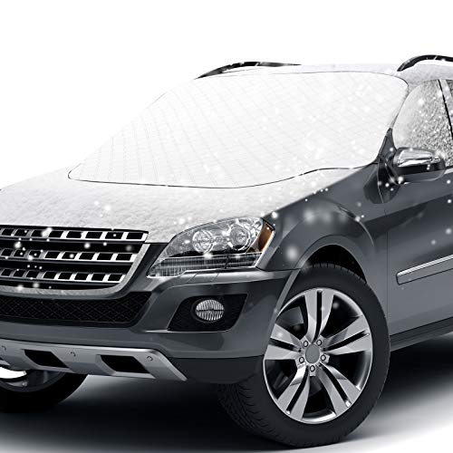 Windshield Snow Cover, Car Windshield Snow Cover Ice Cover with 4 Layers Protection, Straps & Magnets Double Fixed Design Against Sun Snow Ice Dust and Fallen Leaves Fits Most Cars SUV Truck Van