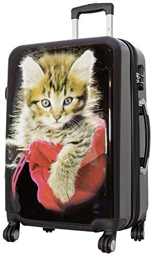 Trendyshop365 City-Koffer Weekender Hartschale Mittelgroß mit Katzen-Foto-Motiv Bedruckt 67cm 62 Liter 4 Rollen