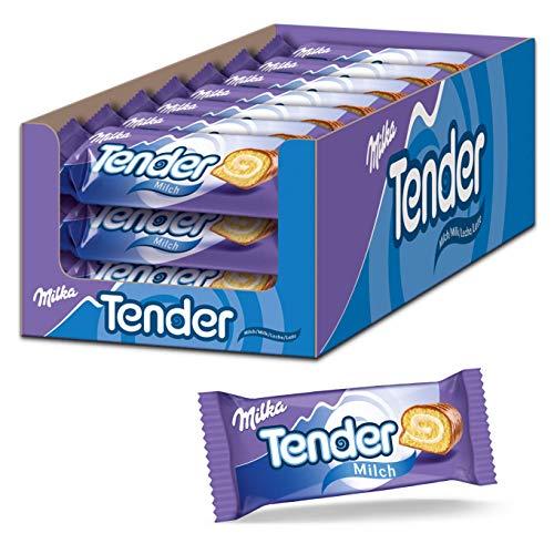 Milka Tender Milch 21 x 37g, Biskuit-Rolle mit Milchcrèmefüllung und Vollmilchschokolade
