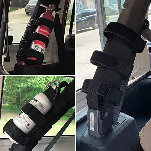 1PC Black Roll Bar 3 lb Fire Extinguisher Holder Mount Strap for Jeep Wrangler Unlimited CJ YJ LJ TJ JK JKU JL JLU Adjustable Extinguisher Mounting Bracket Strap for Jeep Gladiator JT