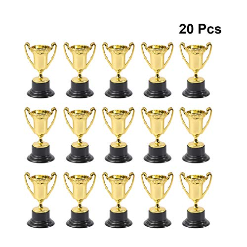 NUOBESTY 20 Piezas Copa Trofeo trofeos de plástico para niños concursos premios Fiestas Fiestas favores Accesorios recompensas premios Juegos Escuela Oro