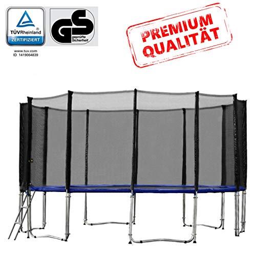 Baunsal GmbH & Co.KG Gartentrampolin Trampolin 487 bis 490 cm in blau mit Sicherheitsnetz und Einstiegsleiter