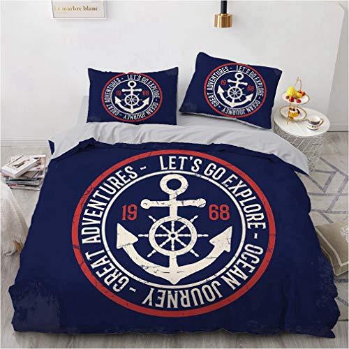 NEWAT Nautisches Meer Ozean Thema, Bettbezug, Bettwäsche-Set, Boot, Schiff, Anker, Rad, Kompass, Lampturm, Seilflasche, Blau, Marineblau, Weiß (F,135 x 200 cm)