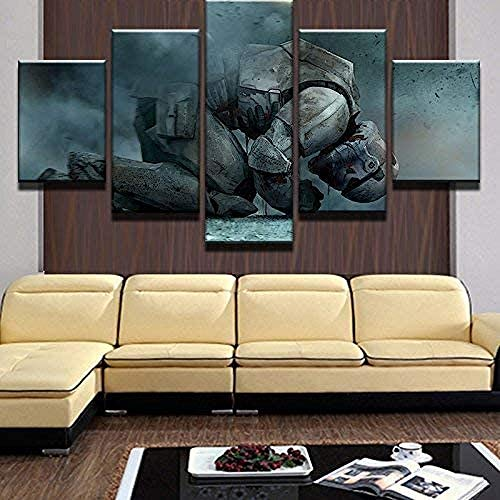 RuiYa Wall Art Frame 5 Canvas Painting Battlefield Robot Soldier war Panel HD Decoration Drawing Abstract Wallpaper Home Modern Murals Furnishing View Print Impression Bedroom Modular Canvas