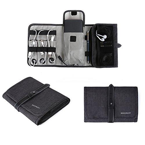 bagsmart Elektronik Tasche Handliche Elektronische Tasche Reise für Handy, Powerbank, Kabel, USB Sticks (Schwarz)
