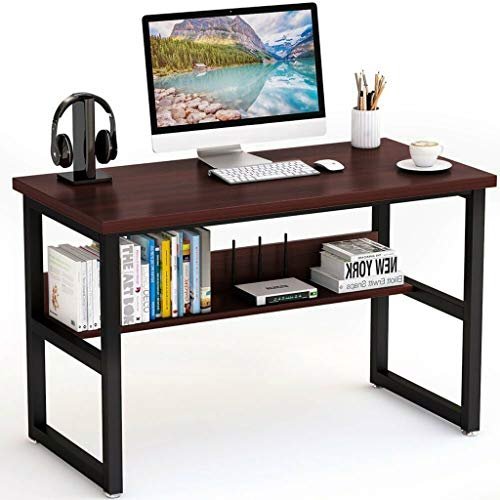PLENTOP Computer Desk Office Desk, Gaming Desk Workstation PC Laptop Study Writing Wood and Metal Frame Table for Home Office 47.2 x 23.6 x 29.5 inches (Wine)