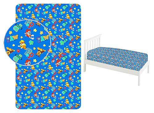 JAVOLI - Sábana bajera para cama individual (90 x 200 cm, 100 % algodón), diseño de la Patrulla Canina