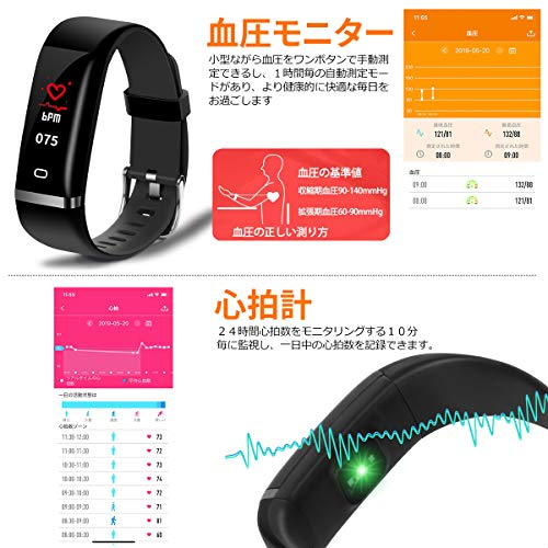 『KCDU スマートウォッチ IP68防塵防水 スマートブレスレット血圧計 心拍計 歩数計 活動量計消費カロリー(黒)』の4枚目の画像