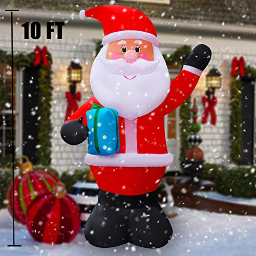 SEASONBLOW 10 FT LED Light Up Inflatable Christmas Santa Claus Decoration Holding Gift Box for Lawn Yard Home Indoor Outdoor