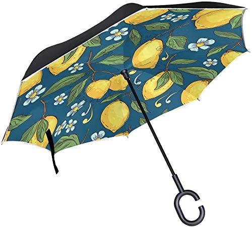 Patrón tropical con limones amarillos a prueba de viento invertidos abierto y cierre inverso, paraguas de lluvia de calidad al revés, sombrilla impermeable al revés, refugio con gancho en forma de C