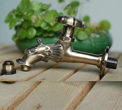 BEISUOSIBYW Co.,Ltd Grifo Bibcock con Forma de Animal, Grifo de jardín, dragón de Bronce Verde para Lavar la fregona/riego de jardín, grifos de Animales
