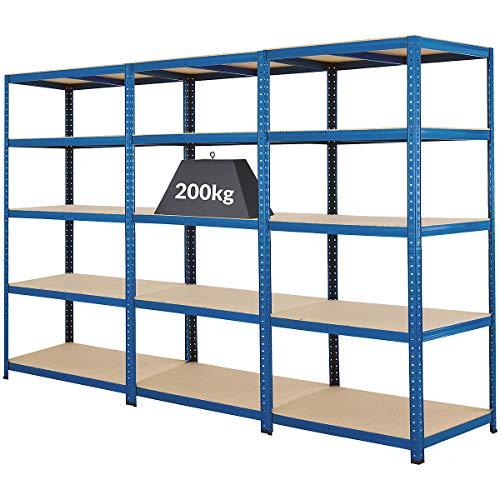 Certeo Mega Deal   Set aus 3x Schwerlastregal (Tiefe 60 cm)   Fachlast 200 kg pro Fachboden   Metallregal Kellerregal Lagerregal Werkstattregal Garagenregal  Belastbar mit 1000 kg