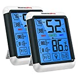 ThermoPro TP55 2 Pieces Digital Hygrometer Indoor Thermometer Humidity Gauge with Jumbo Touchscreen...